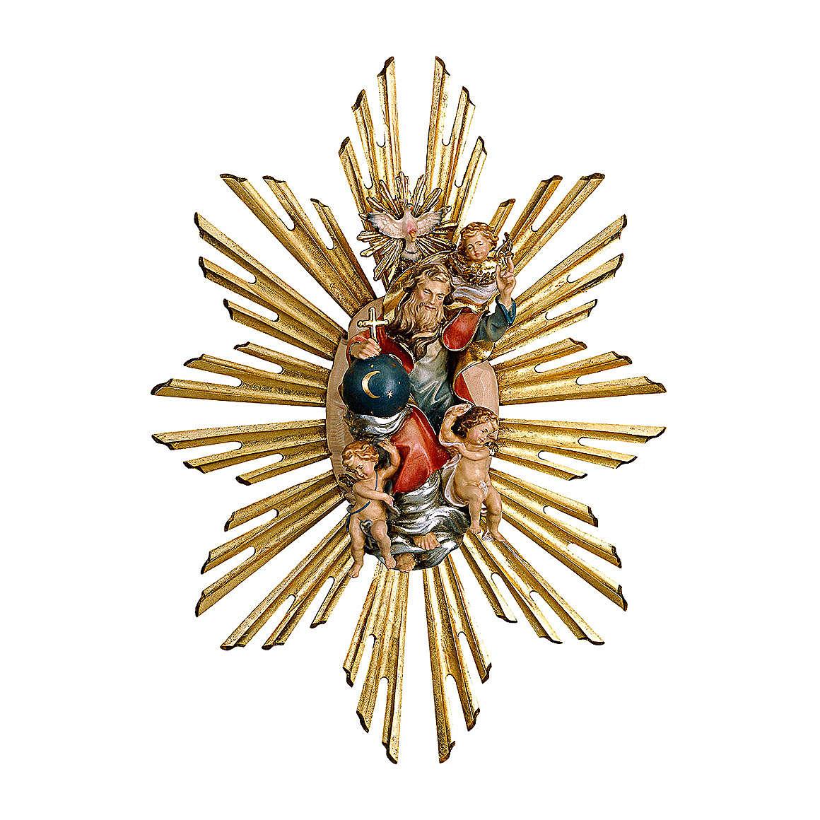 Imagen Dios Padre y Espíritu Santo en gloria con rayos belén Original Pastor madera pintada en Val Gardena 10 cm de altura media 4