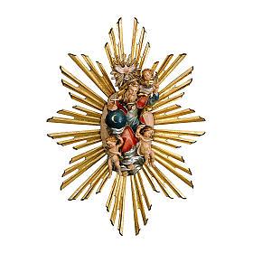 Imagen Dios Padre y Espíritu Santo en gloria con rayos belén Original Pastor madera pintada en Val Gardena 10 cm de altura media s1