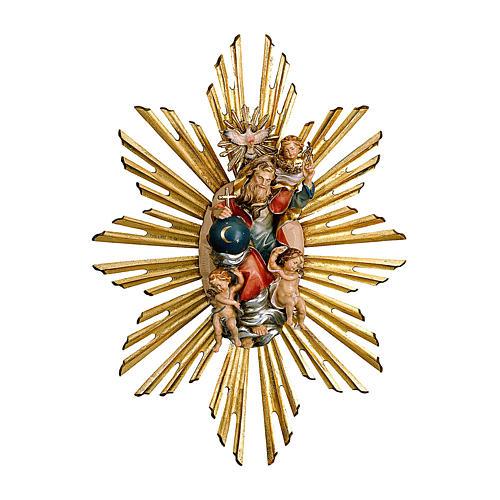 Imagen Dios Padre y Espíritu Santo en gloria con rayos belén Original Pastor madera pintada en Val Gardena 12 cm de altura media 1