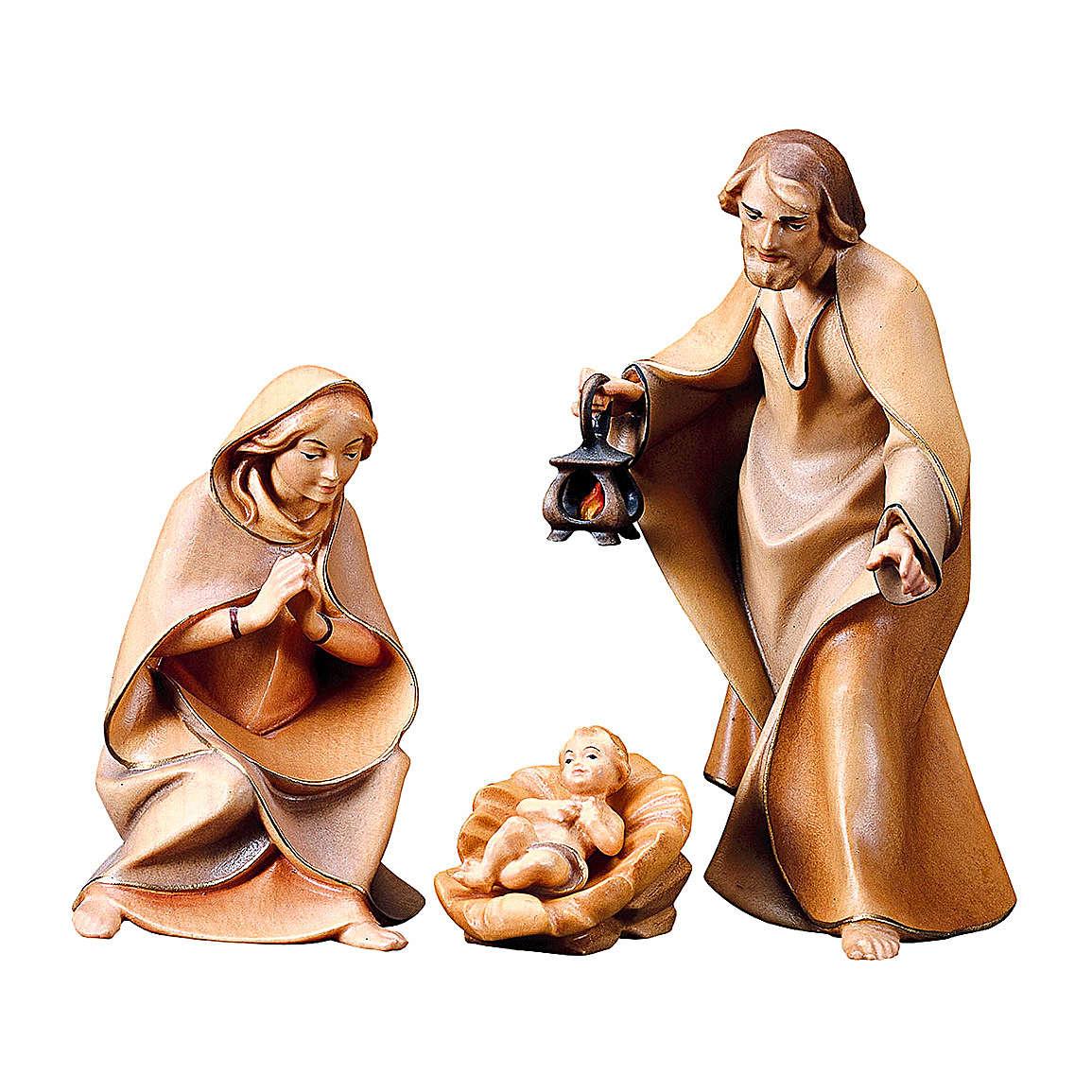 Sacra famiglia per presepe Original Redentore legno dipinto in Valgardena 12 cm 4 pezzi 4