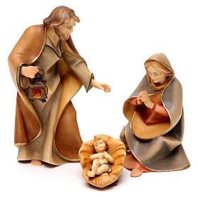 Sacra famiglia per presepe Original Redentore legno dipinto in Valgardena 12 cm 4 pezzi s1