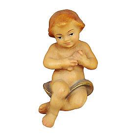 Gesù bambino per presepe Original Redentore legno dipinto in Valgardena 12 cm s1