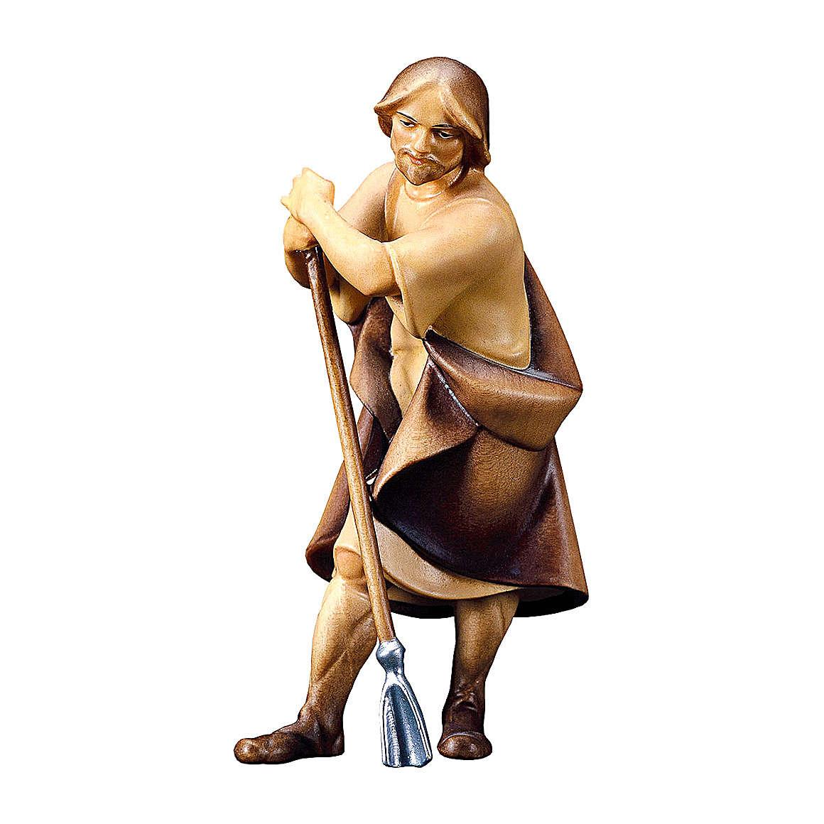 Pecoraio con zappa presepe Original Redentore legno dipinto in Valgardena 10 cm 4