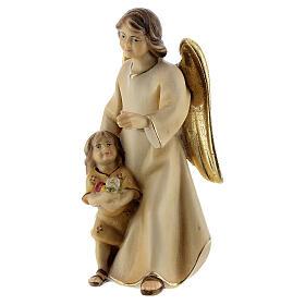 Ángel de la guarda con niña belén Original Redentor madera pintada en Val Gardena 10 cm de altura media s3