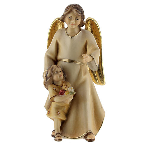 Ángel de la guarda con niña belén Original Redentor madera pintada en Val Gardena 10 cm de altura media 1