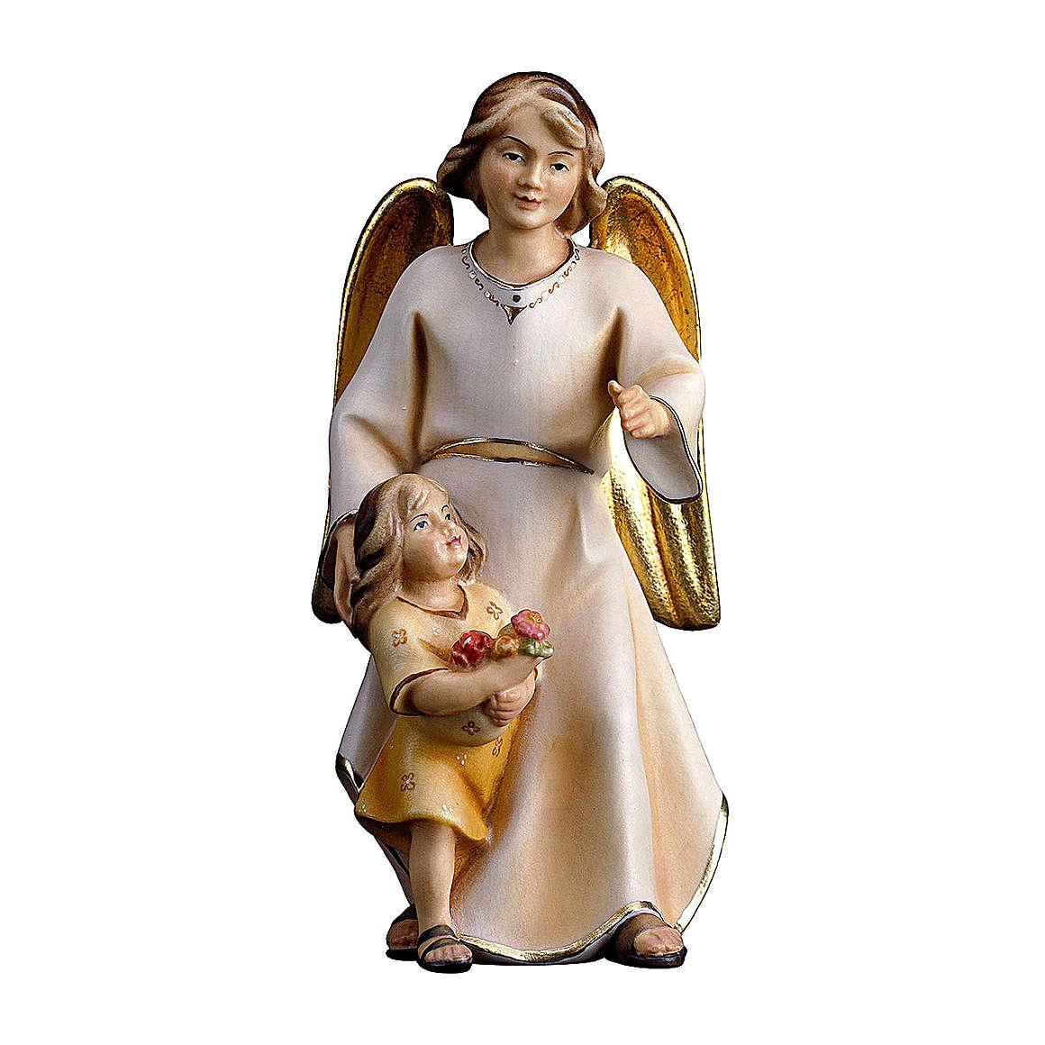 Ángel de la guarda con niña belén Original Redentor madera pintada en Val Gardena 10 cm de altura media 4