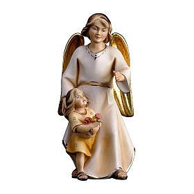 Ángel de la guarda con niña belén Original Redentor madera pintada en Val Gardena 10 cm de altura media s1