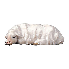 Pecora che dorme per presepe Original Redentore legno dipinto in Valgardena 12 cm s1