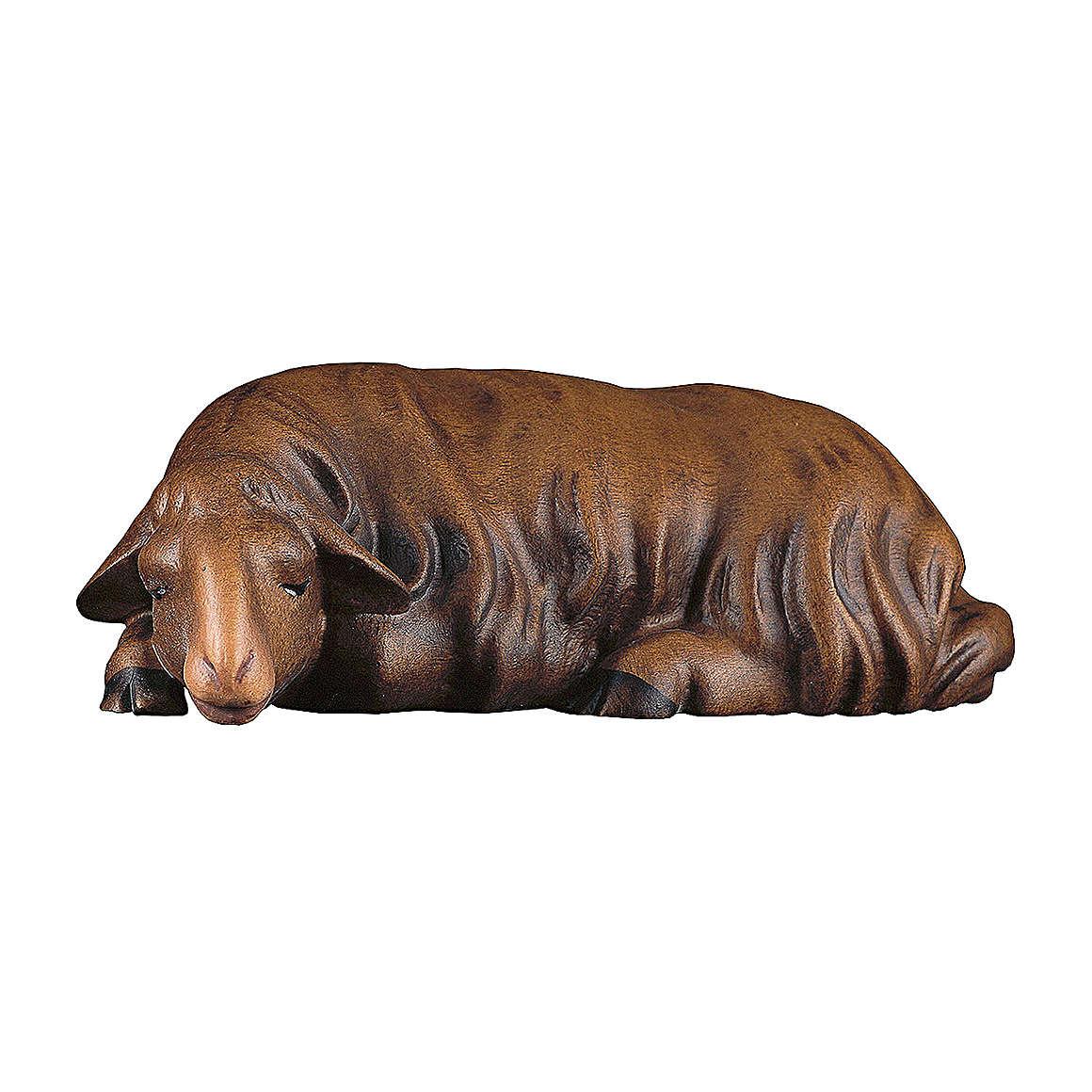 Pecora che dorme scura presepe Original Redentore legno dipinto in Val Gardena 10 cm 4