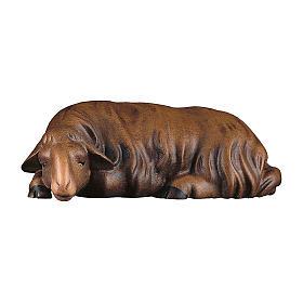 Pecora che dorme scura presepe Original Redentore legno dipinto in Val Gardena 10 cm s1