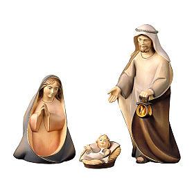 Sacra famiglia presepe Original Cometa legno dipinto in Val Gardena 10 cm 4 pezzi s1