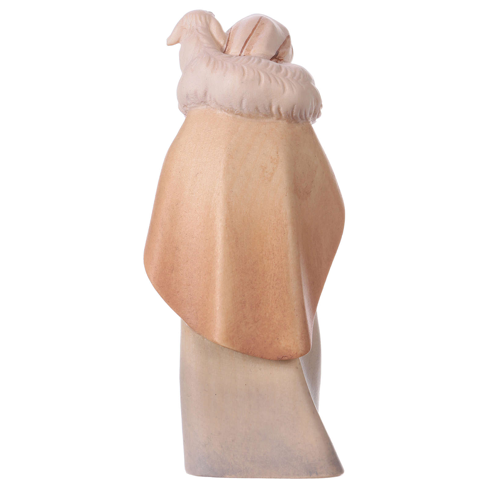 Pastore con pecora sulle spalle per presepe Original Cometa legno dipinto in Valgardena 12 cm 4