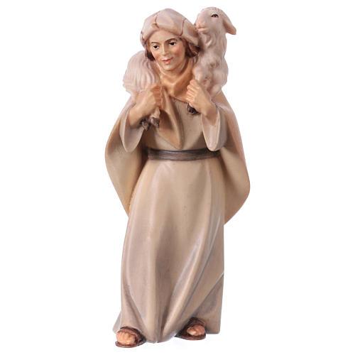 Pastore con pecora sulle spalle per presepe Original Cometa legno dipinto in Valgardena 12 cm 1