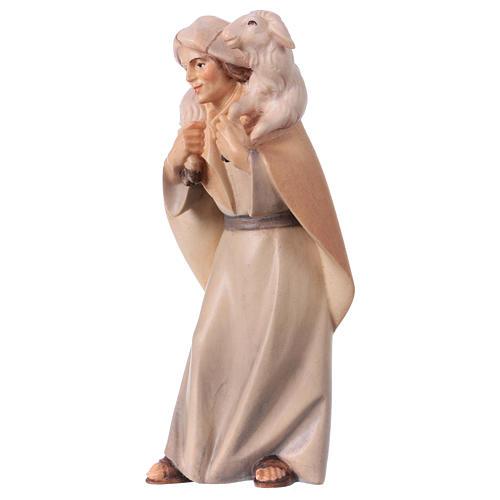 Pastore con pecora sulle spalle per presepe Original Cometa legno dipinto in Valgardena 12 cm 2