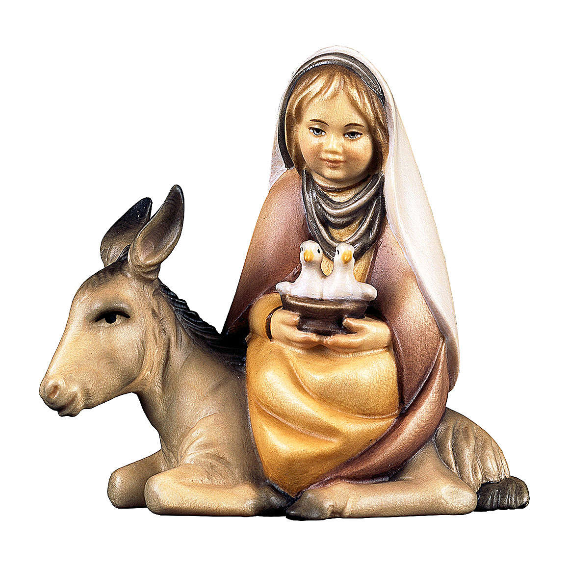 Bambina con colombe su asino presepe Original Cometa legno dipinto in Val Gardena 10 cm 4