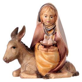 Bambina con colombe su asino presepe Original Cometa legno dipinto in Val Gardena 10 cm s1