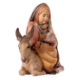 Bambina con colombe su asino presepe Original Cometa legno dipinto in Val Gardena 10 cm s3