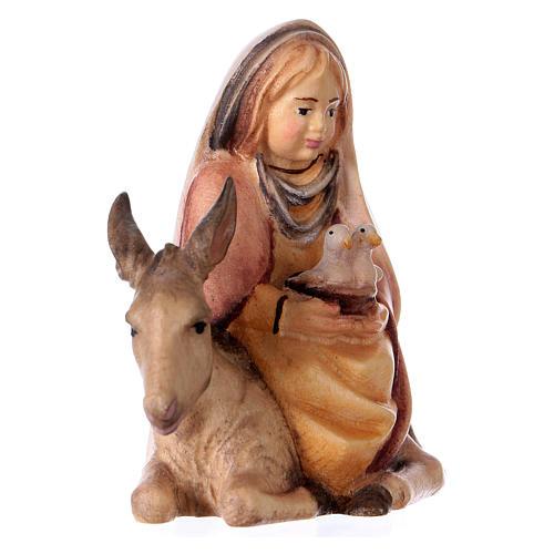 Bambina con colombe su asino presepe Original Cometa legno dipinto in Val Gardena 10 cm 3