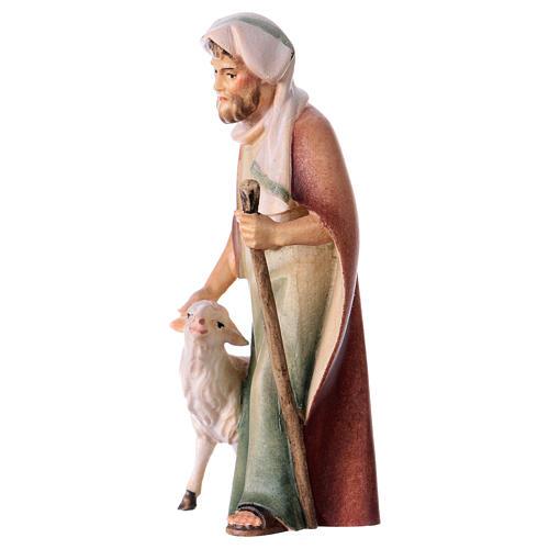 Berger avec canne suivi d'un mouton crèche Original Comète bois peint Val  Gardena 10 cm 2