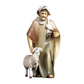 Pastore con bastone e pecora presepe Original Cometa legno dipinto in Val Gardena 10 cm s1