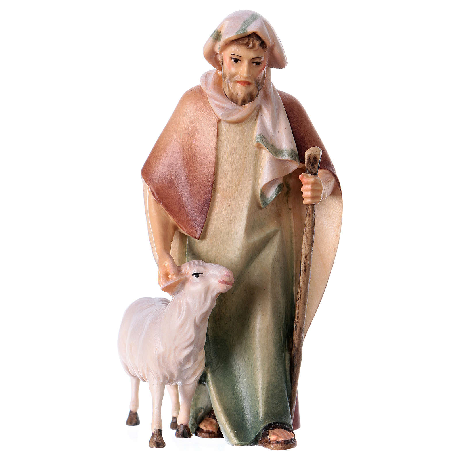 Shepherd with Staff and Sheep, 10 cm nativity Original Comet model, in painted Valgardena wood 4