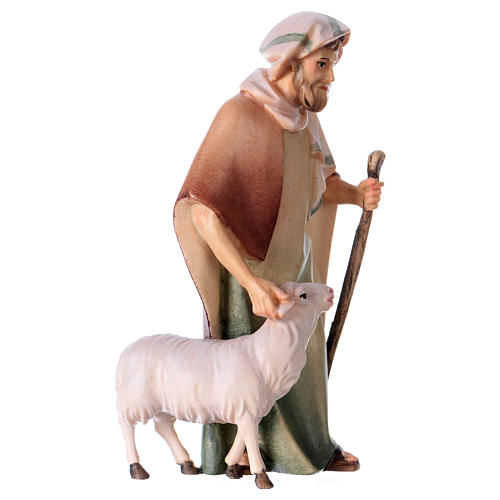 Shepherd with Staff and Sheep, 10 cm nativity Original Comet model, in painted Valgardena wood 3