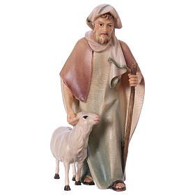 Belén Val Gardena: Pastor con bastón y oveja belén Original Cometa madera pintada en Val Gardena 12 cm de altura media