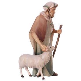 Pastore con bastone e pecora per presepe Original Cometa legno dipinto in Valgardena 12 cm s3