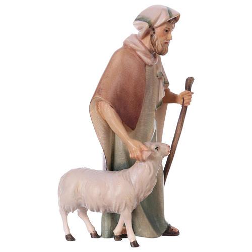 Pastore con bastone e pecora per presepe Original Cometa legno dipinto in Valgardena 12 cm 3