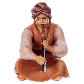 Belén Val Gardena: Pastor sentado con flauta belén Original Cometa madera pintada en Val Gardena 12 cm de altura media