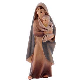 Belén Val Gardena: Campesina con bebé belén Original Cometa madera pintada en Val Gardena 10 cm de altura media