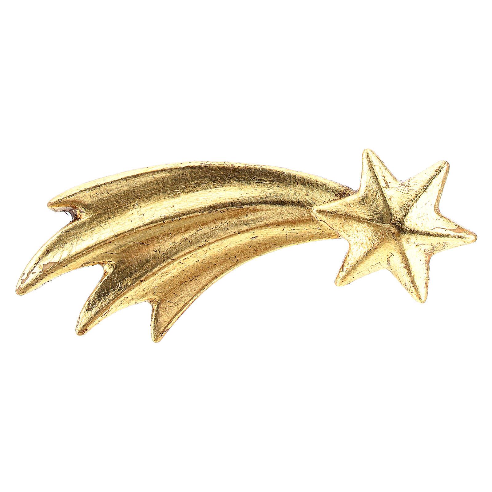 Gold Comet, 10 cm nativity Original Comet model, in painted Valgardena wood 4