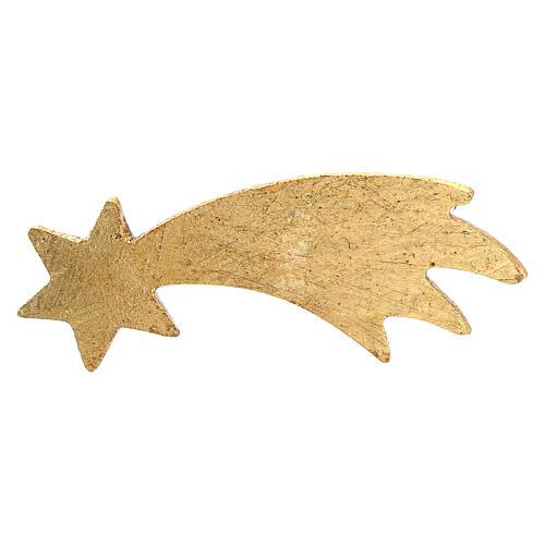 Gold Comet, 10 cm nativity Original Comet model, in painted Valgardena wood 2