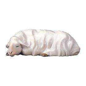 Pecora che dorme per presepe Original Cometa legno dipinto in Valgardena 12 cm s1