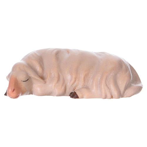 Pecora che dorme per presepe Original Cometa legno dipinto in Valgardena 12 cm 1