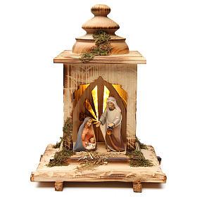 Belén Val Gardena: Natividad Cometa linterna con luz belén Original Cometa madera pintada Val Gardena de altura media 12 cm