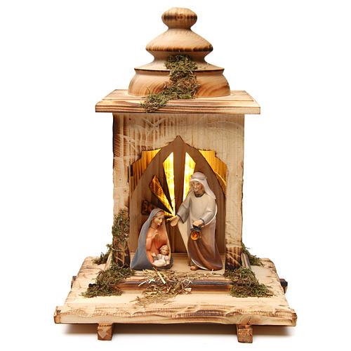 Natività Cometa lanterna con luce presepe Original Cometa legno dipinto Val Gardena 12 cm 1