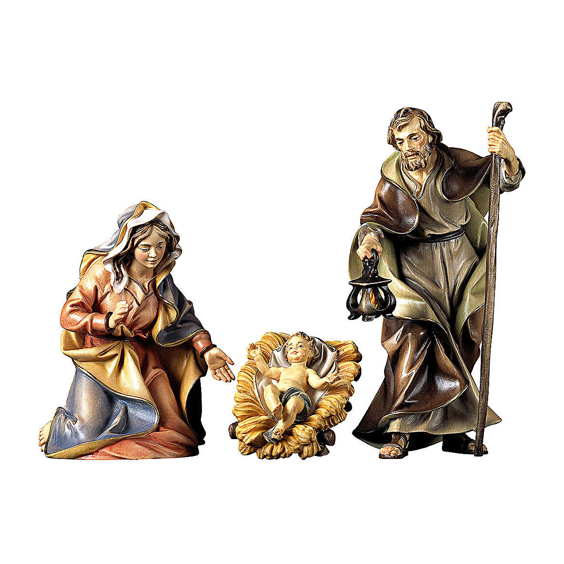 Sacra famiglia con culla per presepe Original legno dipinto in Valgardena 12 cm 4