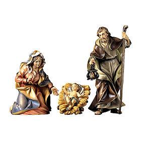 Sacra famiglia con culla per presepe Original legno dipinto in Valgardena 12 cm s1