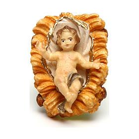 Belén Val Gardena: Niño Jesús con cuna belén Original madera pintada en Val Gardena de 10 cm de altura media