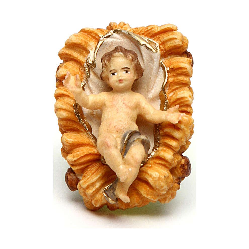 Gesù bambino con culla presepe Original legno dipinto in Val Gardena 10 cm 4