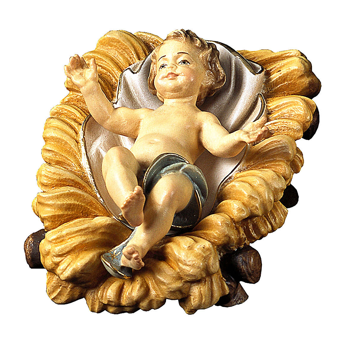 Gesù bambino con culla per presepe Original legno dipinto in Valgardena 12 cm 4