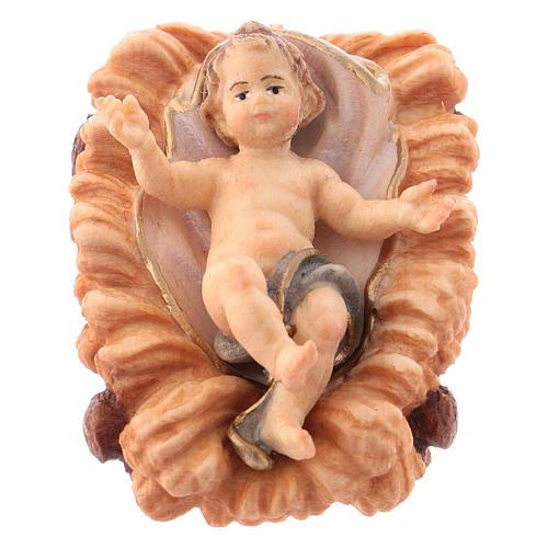 Gesù bambino con culla per presepe Original legno dipinto in Valgardena 12 cm 1