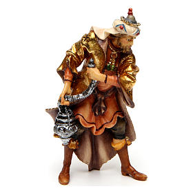 Tres reyes magos belén Original madera pintada en Val Gardena 10 cm de altura media s3