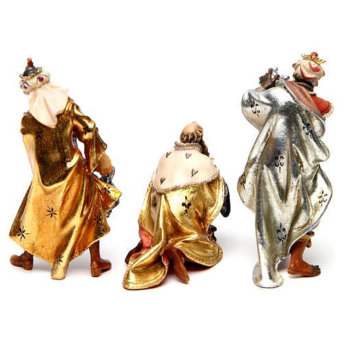 Tres reyes magos belén Original madera pintada en Val Gardena 10 cm de altura media 5