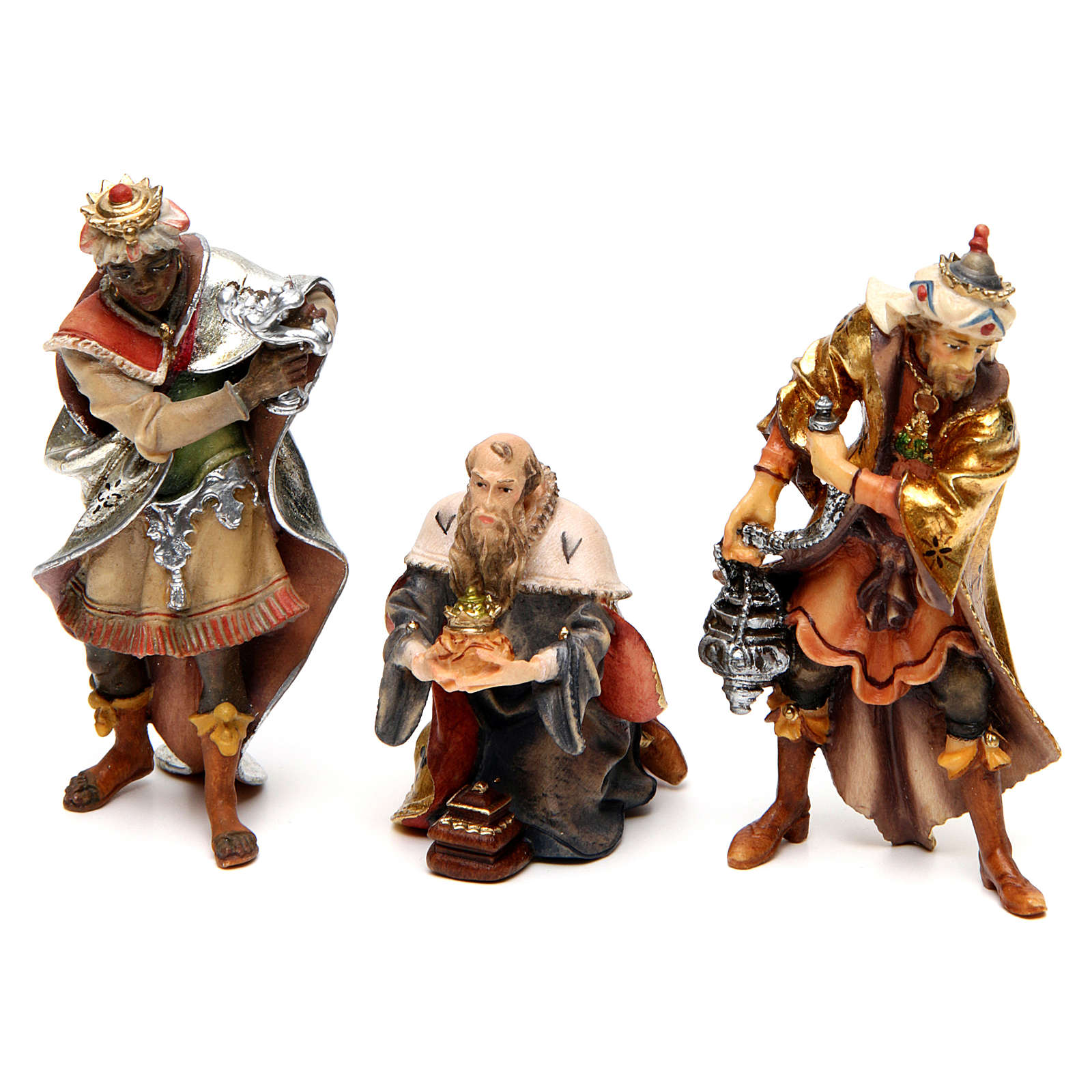 Three Wise Men, 10 cm Original Nativity model, in painted Val Gardena wood 4