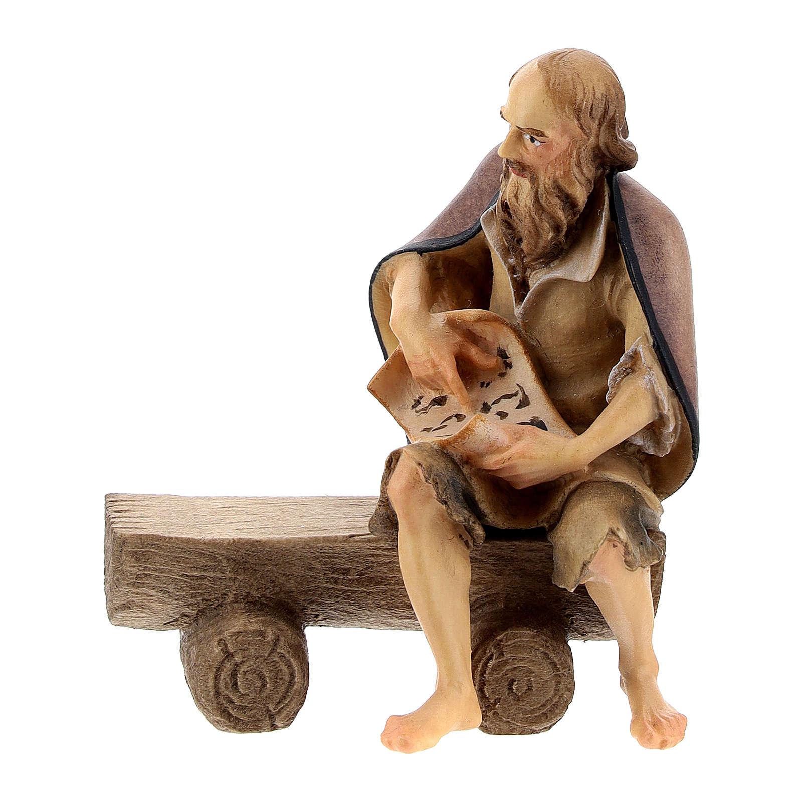 Anciano en un banco con niño belén Original madera pintada en Val Gardena 10 cm de altura media 4