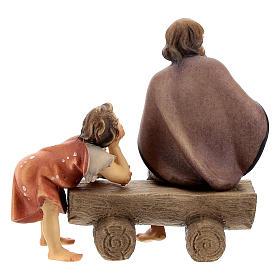 Anciano en un banco con niño belén Original madera pintada en Val Gardena 10 cm de altura media s4