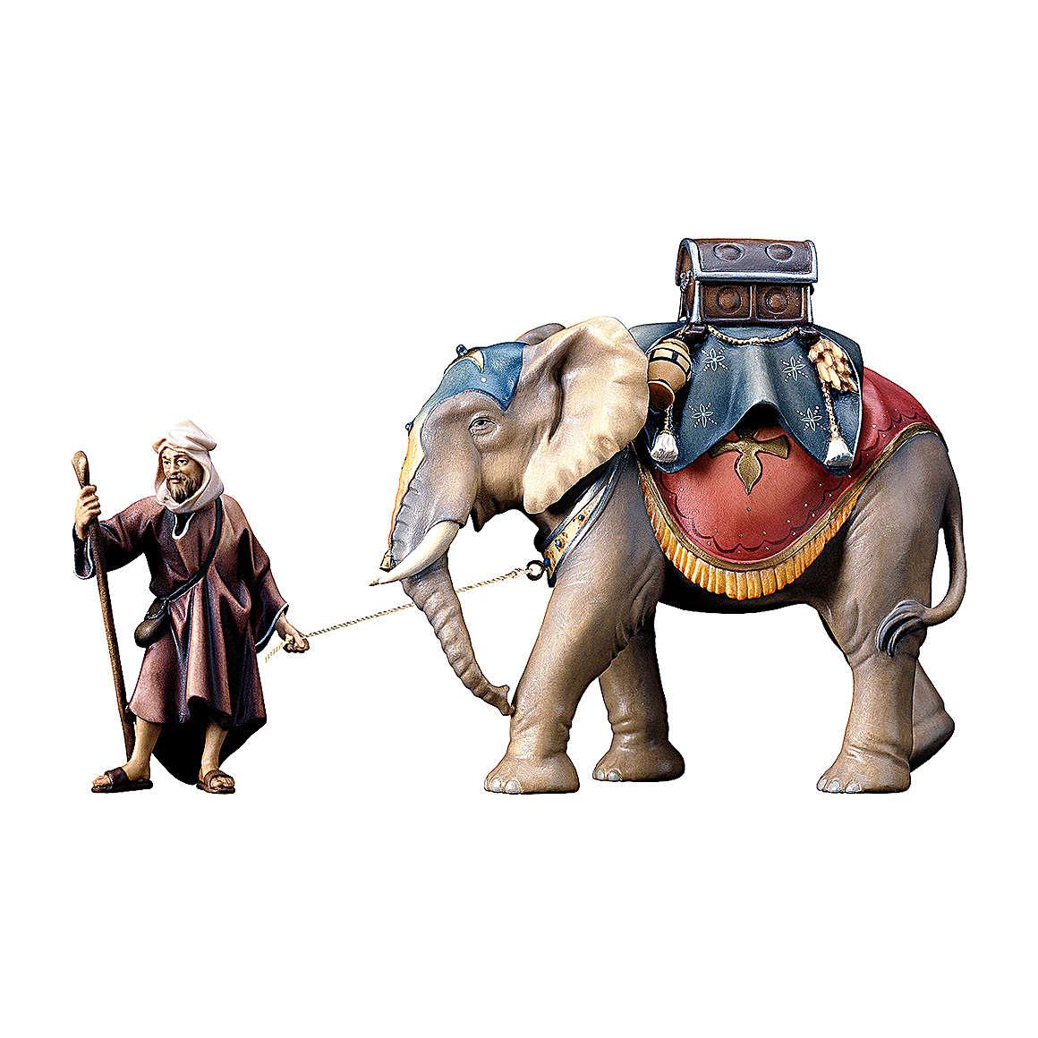 Gruppo dell'elefante con sella e bagagli presepe Original legno dipinto in Val Gardena 10 cm 4