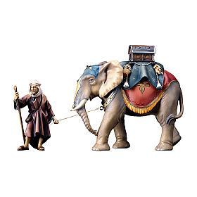 Gruppo dell'elefante con sella e bagagli presepe Original legno dipinto in Val Gardena 10 cm s1